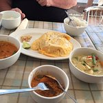 Prawn pad Thai wrapped in an omelette, red thai prawn curry, green Thai chicken curry..delicious