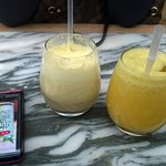 Coconut, pineapple and apple juice and apple and orange juice