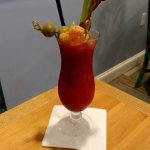 Loaded Bloody Mary - Yes, that is a shrimp skewer and bacon too!