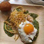 Limited time only, corn tamale and egg with salsa verde!