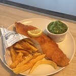 Cod with a cone of chips and mushy peas 😊