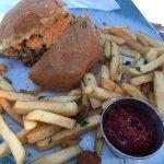 Grilled peach pound cake, Raj burger, tostada, Charleston Saute, pimento burger