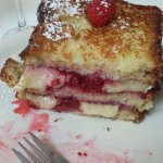 So yummy! Raspberry and brie stuffed french toast!