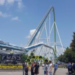 Fury325. 325 ft drop and a ride time of 3min25 seconds. Statue of liberty will fit under the hil