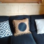 Comfortable sofa at Sam's cabin