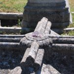 Amethyst inlay on a very old grave stone