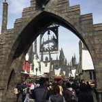 The sign above the gate at the entrance to Hogsmeade