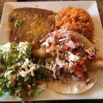Rosarito fish taco. Lunch plate came with beans, rice, guacamole and nopales. A great value