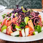 The Ocean Trout and pear salad (with nectarines when in season)