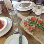 Delicious soups and West Coast Pizza with salmon - perfection!