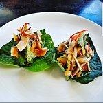 Betal leaf w grilled prawn, coconut.
