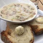 Manilla Clam Chowder. No clam skimping here, as you can see.