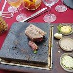 Steak on hot stone