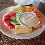 Un des desserts proposés à la carte : sélection de fruits frais avec yaourt brassé (37000 IDR)