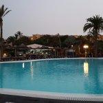 Main pool, with pool bar at rear, evening shot