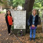 Susana Wesley's grave site in London (my wife and our tour guide, Ms. Barbara)