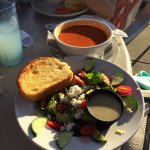 Tasty Greek salad and tomato bisque.