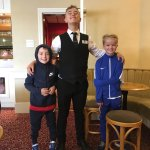 Oliver and Alfie with their new bestie, our waiter Jack 😁