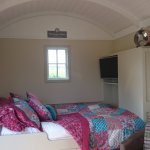 Shepherd hut internal - stable door, king size bed, Quality duck down duvet, semi self catering,
