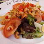 salade de crevettes et saumon