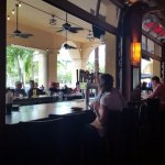 Inside sitting at outside bar