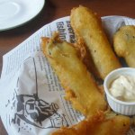 Battered dill pickles and dip, delish!!!