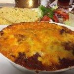 Veggie lasagne with garlic bread