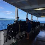 Scuba gear all ready for divers - prepared by staff