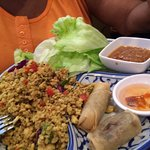Thai chicken wrap with peanut sauce and spring rolls