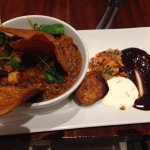 Spicy quinoa chilli with homemade chickpea tortilla chips and chocolate sauce