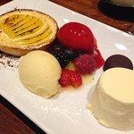 Elderflower pannacotta, chocolates filled with sambuca, peach and passion fruit tart...