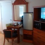 Fridge, tv, small table