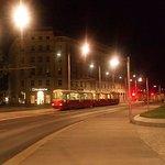 A tram on a beautiful Vienna night.