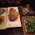 Crabcakes, Scallop sliders, coconut shrimp, steak flatbread