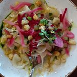 ceviche, beautiful but slightly to sour