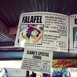 organic mushrooms and falafel