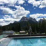 The new infinity pool with the awesome view of the Dolomites