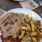 Schnitzel with mushroom cream sauce and pan fried potatoes - YUMM!