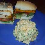 grilled tofu sandwich with buffalo sauce and chickpea salad. chickpea salad is soo good!!!