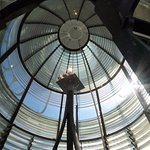 The inside of the very top of the lighthouse. Very cool!