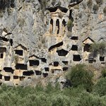 Hidden rock tombs only see from over the river.