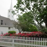Church and Flowers at Olde Mistick Village.
