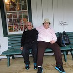 Louis and I sitting on the bench at Olde Mistick Village.
