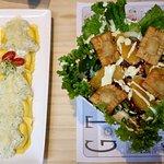 Raviole with pesto and Gotan house salad