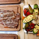 Bife de chorizo and grilled vegetables