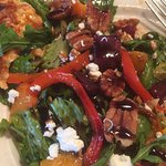Roasted beet and peach salad and flat bread