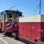The Astoria Riverfront Trolley pulling its personal generator