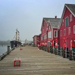 Downtown Lunenburg with coloured houses