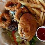 Bleu burger with fries.
