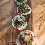 The best tacos on the Fraser Coast - Bargara Brewery beer battered prawn tacos with pork crackle